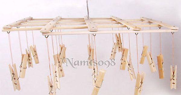 Bamboo Folding Laundry Clothes Airer Dryer Organizer Rack 22 Pegs Hanger Clip Folding Laundry Hanger Laundry Hanger