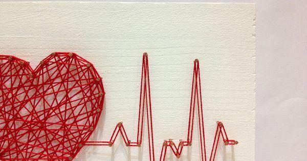 String Art Rhythm Heart Beat Sign Wall Art Interior от OneRoots