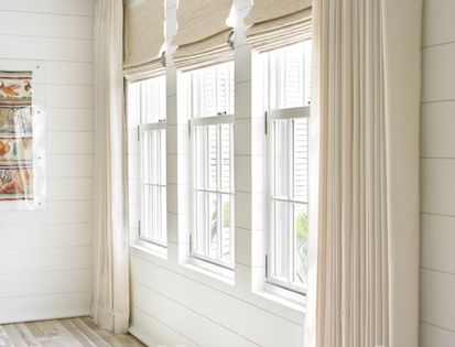 Stock Image Of A Row Of Three Windows On A White Wall With