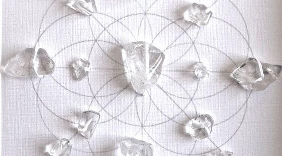 PURIFY ENERGIZE FLOW framed sacred crystal grid clear quartz --- seed of