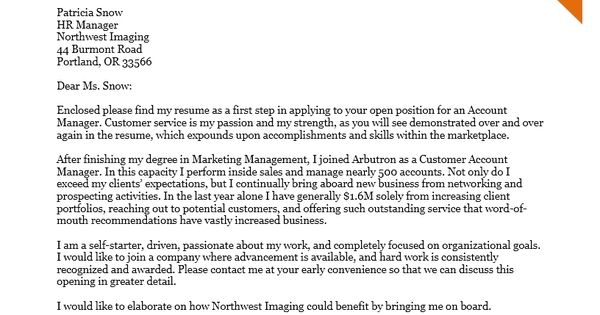 cover letter example for an account manager example