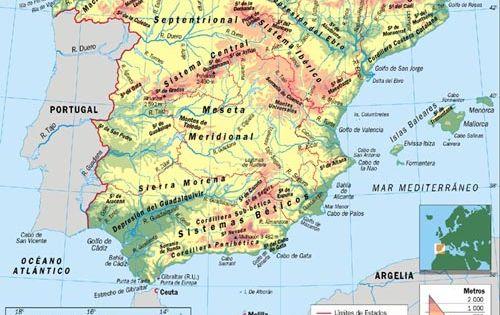 Mapa geograf a escolar mapa f sico de espa a mapas for Cuarto milenio 467
