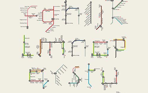 Underground alphabet. typography connected
