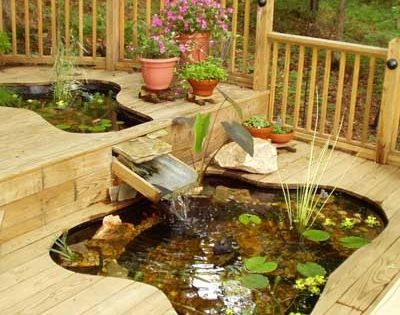 Two fish ponds built in deck.