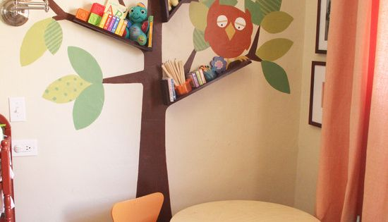 tree branch floating bookshelves. I dig cute kids room ideas.