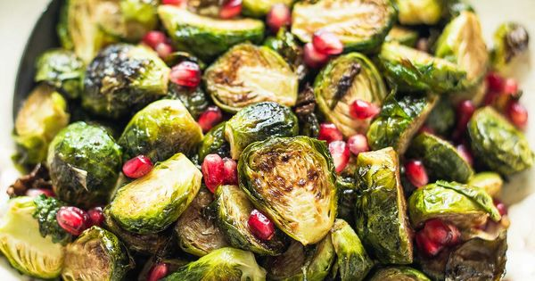 Brussels sprouts tossed with an easy pomegranate-balsamic glaze ...