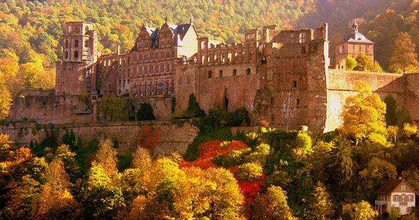Autumn Heidelberg Castle Germany Photo Via Water 여행 배경 가을