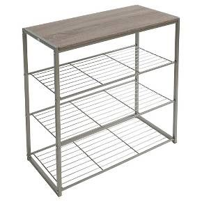 4 Tier Shoe Rack With Rustic Oak Finish Top Gray Metal Threshold