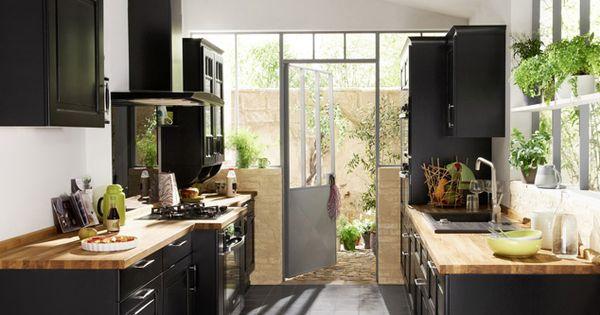 Id e cuisine noir laque plan de travail bois lapeyre - Lapeyre plan de travail cuisine ...