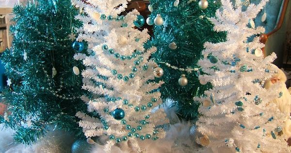 Turquoise And White Christmas Trees And Decorations