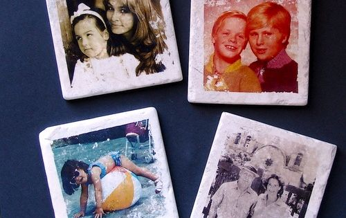 photo tile coasters. Christmas gift idea