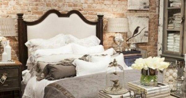 steinoptik tapete schlafzimmer ideen landhausstil wanddeko ideen innenr ume mit ziegel. Black Bedroom Furniture Sets. Home Design Ideas