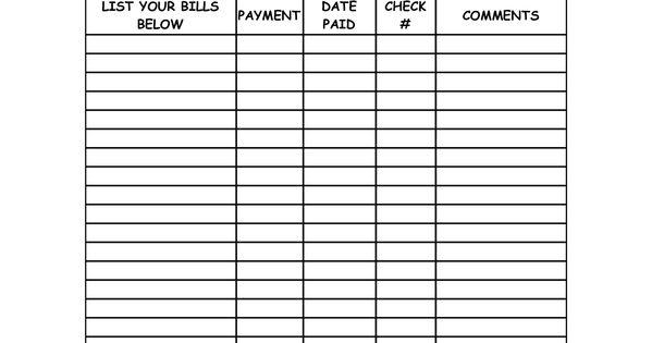 blank bill payment organizer