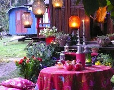 Bright colors and lanterns ~ Gypsy Heaven ~ Bohemian gypsy caravan, romantic