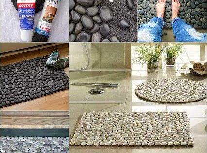 Reciclar piedras de rio para hacer felpudos alfombras de - Alfombras de bano originales ...