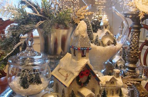Christmas Village in glass! Feathers & Flight ~Jill McCall-Marcott~Mixed Media & Digital