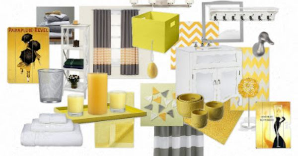 Yellow And Gray Bathroom