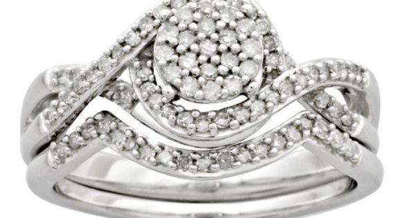 Miabella 1 3 Carat Diamond Sterling Silver Cross Over Bridal Set Walmart Com In 2020 Silver Bridal Earrings Silver Earrings Wedding Diamond Bridal Sets