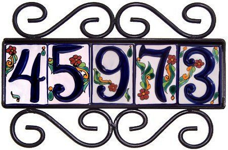 Wrought Iron House Number Frame Colonial 5 Close Up 82 Iron House Numbers House Numbers Tile House Numbers