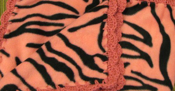 Fleece With Jungle Monkeys Boy Baby With Green Shell Crochet Edge Baby Blanket