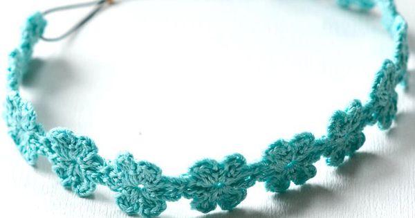 daisy crochet headband - use elastic cord and crimp to make adjustable