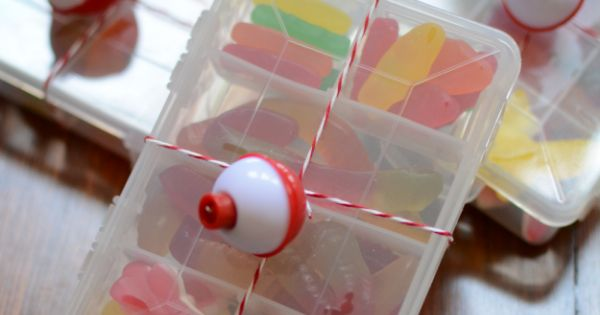 Tackle box with gummies for a nautical gift bag - P as in Party P ...