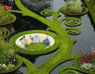 Garden, Pond, Couch: The perfect place to enjoy a drink and a