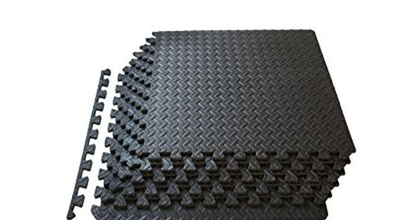 Prosource Fs 1908 Pzzl Puzzle Exercise Mat Eva Foam Interlocking Tiles Black 24 Square Feet Mat Exercises Interlocking Tile Foam Mat Flooring