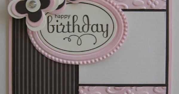 Pretty birthday card in pink, black & white. The embossing and non-bulky