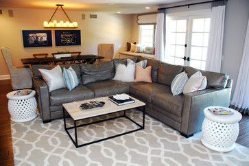 Gray Leather Sectional Design Ideas Pictures Remodel And Decor Leather Couches Living Room Leather Sectional Living Room Living Room Leather