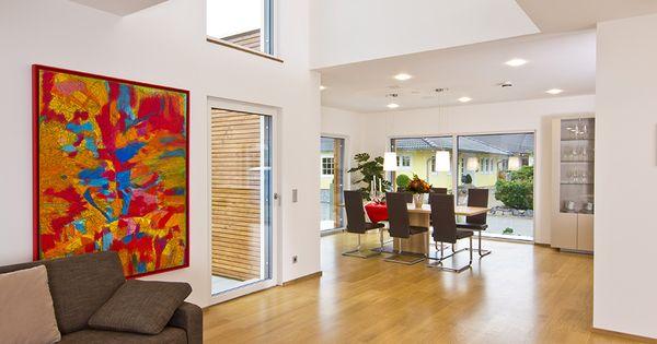 Haus FUTURE - Offener Wohn- Essbereich - Fertighaus WEISS - wohnzimmer offene küche