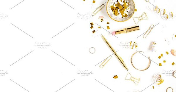 Beauty blog background. Gold style feminine accessories. Golden tinsel, scissors, pen, rings, necklace, bracelet