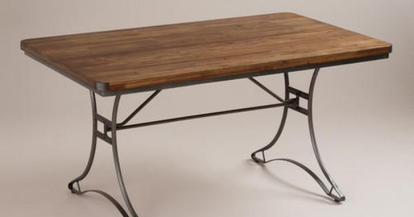 Jackson Rectangular Table With Metal Base World Market Dining Table Rustic Dining Room Table Rectangular Dining Table