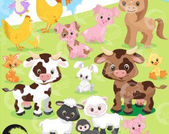 Granja Animales Imagenes Predisenadas Clipart Cabeza Etsy Boerderijdieren Illustraties Koe