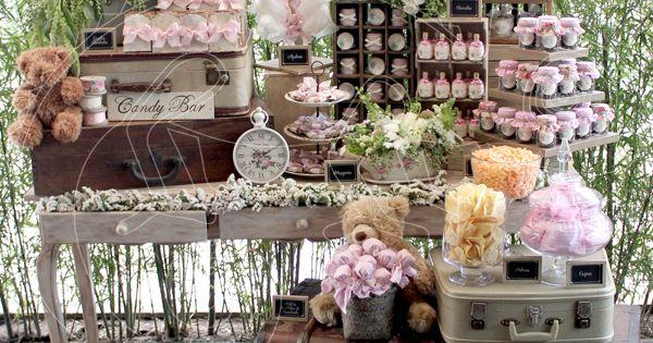 Mesa de dulces candy bar pink for Mobiliario de bar