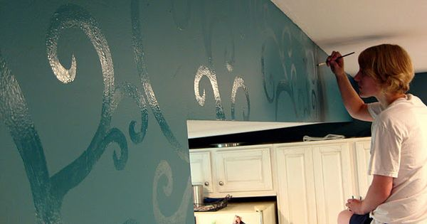 High gloss paint design on top of flat paint