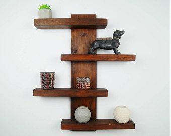 Handmade Modern Rustic 4 Tier Shifted Shelves With Images Barn Wood Decor Wooden Shelves Wall Shelves Design