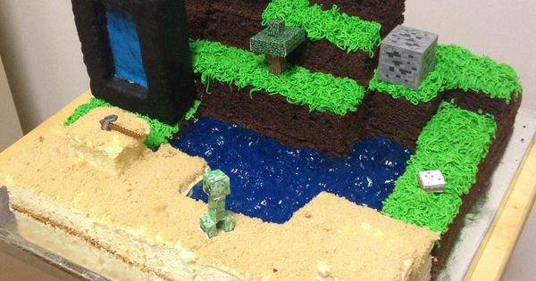 Minecraft Cake With Nether Portal Herobrine And Of
