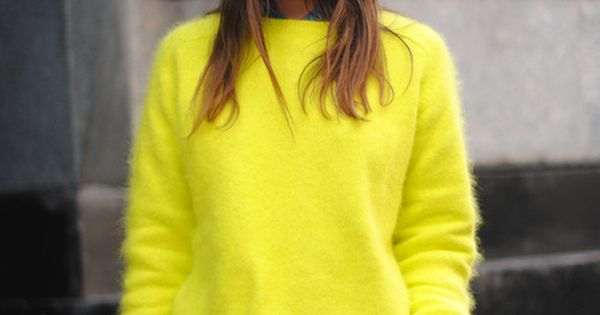 Neon Sweater Outfit : Street Style : MartaBarcelonaStyle's Blog