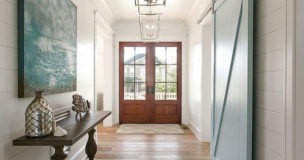 Foyer Window Kit : Coastal foyer with blue sliding barn door mahshie custom