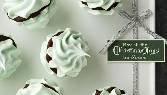 Mint Meringue Kisses Chocolate-and-mint fans will rejoice over this minty meringue cookie.