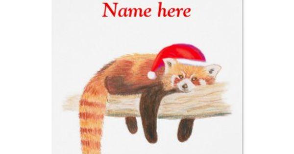Red Panda Christmas Card Customizable Holiday Card Zazzle Com Panda Christmas Card Cute Christmas Cards Red Panda