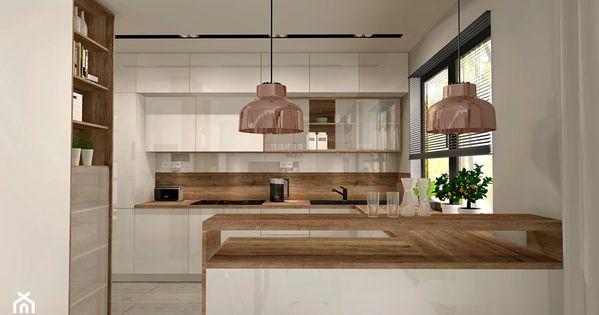 Aranzacja Kuchni I Salonu W Domu Jednorodzinnym Duza Otwarta Kuchnia W Ksztalcie Litery G Styl Nowoczesny In 2020 Kitchen Layout Home Kitchens Modern Kitchen Design