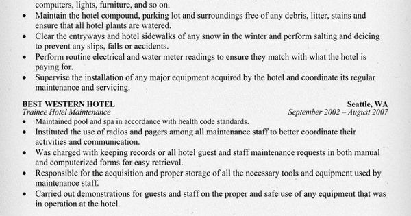 hotel maintenance resume sle career