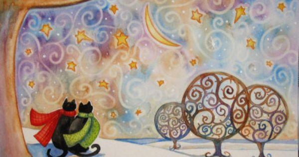 Brenna White Tile Arts International Black Cat Art Whimsical