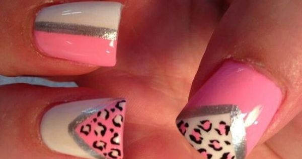 Summer nails animal cheetah print triangles triangle pink - Nail designs do it yourself at home ...