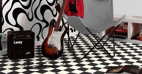 rev tement de sol pvc damier noir et blanc 4 m castorama rangements cuisine pinterest. Black Bedroom Furniture Sets. Home Design Ideas