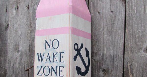 No Wake Zone Buoy Girls Nautical Decor Pink And Navy