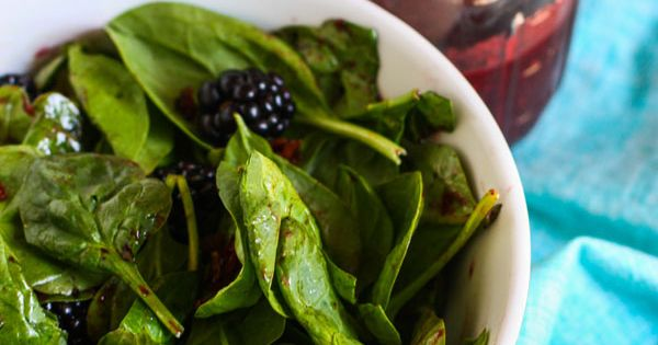 Spinach Salad with Candied Bacon and Fresh Blackberry Vinaigrette by Jenna Weber,