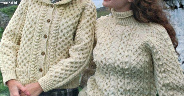 Aran Knitting Patterns Sweaters Cardigans Irish Knits Bernat 516 Sweater ca...